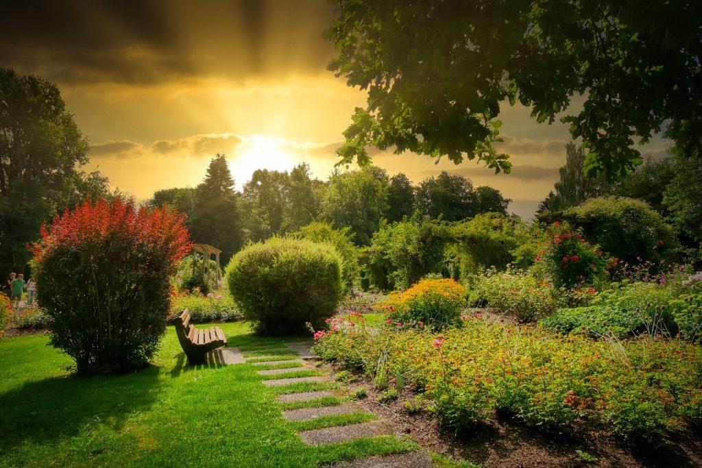 banc jardin pente