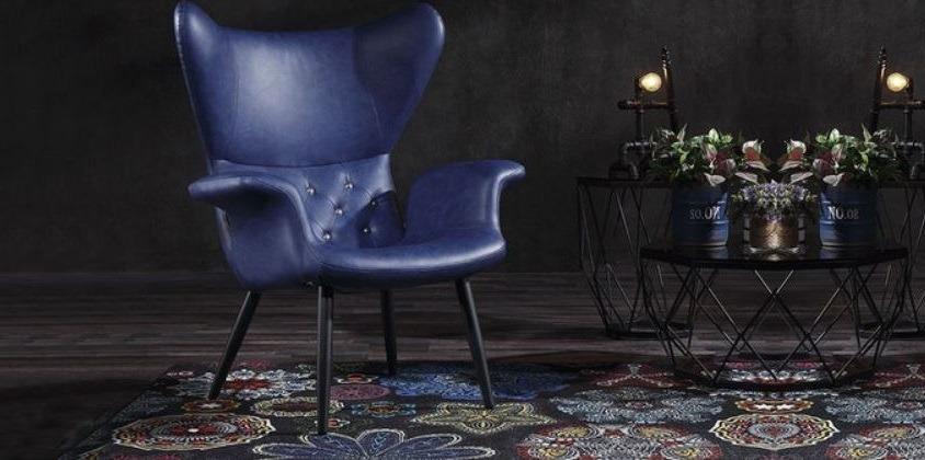 chaise en cuir bleu